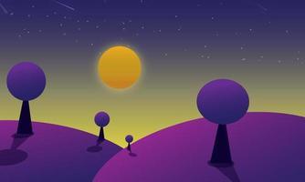 mooi futuristisch paars landschap met nachtelijke hemel
