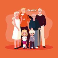 schattige familieleden in poster vector