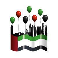 nationale feestdag vae met vlag en ballonnen