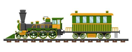 vintage trein op spoorweg vector