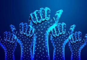 veel handen met duimen omhoog veelhoekig draadframe-ontwerp vector