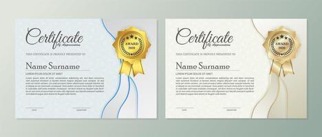 professionele beige en blauwe certificaatsjablonen