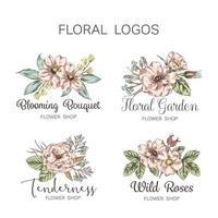 kleurrijke hand getrokken bloemenwinkel logo set
