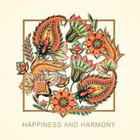 geluk en harmonie Victoriaans Paisley-ontwerp vector
