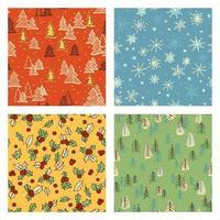 kleurrijke kerst doodle patroon set