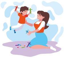 moeder en zoon spelen
