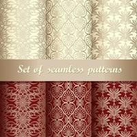 set van goud en rood vintage naadloze patronen vector