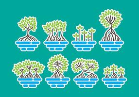 Mangrove Pictogrammen vector