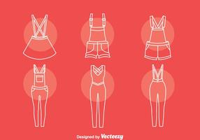 Overalls line icons set vector