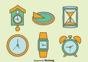 Hand getekende horloge collectie vector set