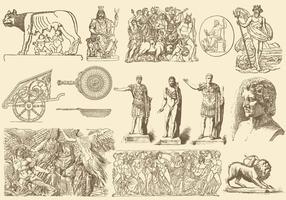 Sepia Griekse kunstillustraties