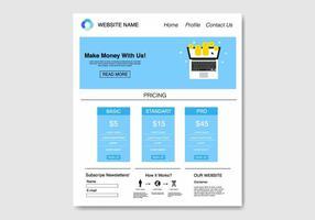 Gratis Blue Flat Template Website Vector