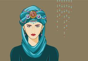 Turquoise Turban Vrouw Vector