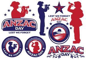 Anzac dag labels vector
