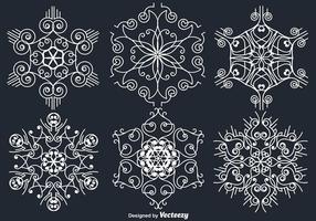 Witte Sierwitte Sneeuwvlokken vector