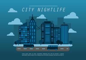 Midnight Blue Flat Cityscape Vector Achtergrond