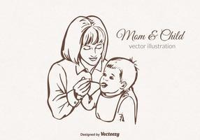 Gratis Vector Mama En Kind Illustratie