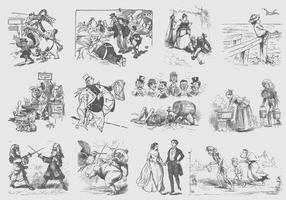 Grijze Vintage Cartoons vector