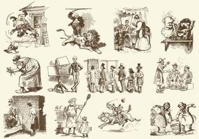 Sepia vintage cartoons vector
