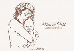Gratis Mamma En Kind Vectorillustratie