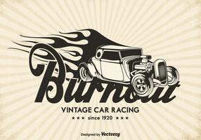 Gratis Vintage Race Car Burnout Vector Achtergrond