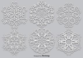Vector Set Van Elegante Witte Sneeuwvlokken - Vector