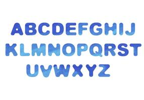 Waterverf Lettertype vector