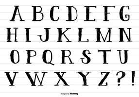 Hand getekend inktstijl alfabet vector