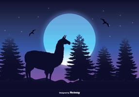 Landschap Scène Met Llama Silhouet vector
