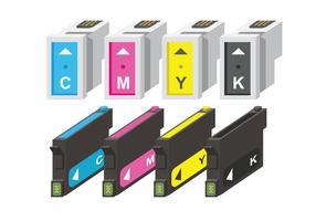 CMYK-vectoren van de inktcartridge