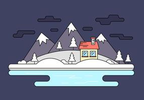 Snow Capped Island Vector Illustratie