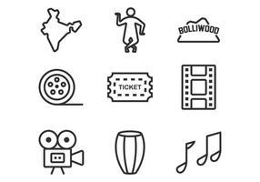Bollywood lijn iconen vector