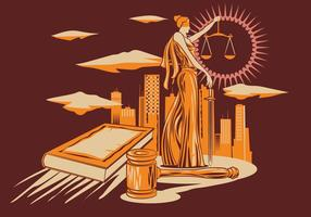 Lady Justice Vector Illustratie In Houtsnijwerk Design Style.