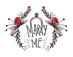 Gratis Marry Me Hand Teken Vector
