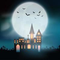 halloween-achtergrond met kasteel op kerkhof