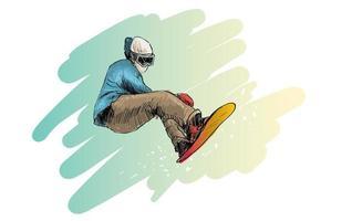 schets van man snowboarden vector