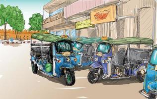 schets van een auto-riksja op de achtergrond van een stad