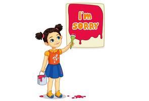 schattig meisje schilderen een bord met het spijt me tekst vector