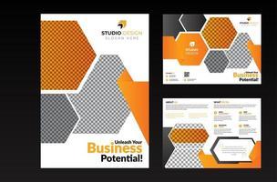 zakelijke oranje en grijze zeshoekige tweevoudige sjabloon set vector