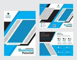 zakelijke tweevoudige blauwe en witte brochure sjabloon set vector