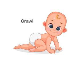 schattige baby kruipen
