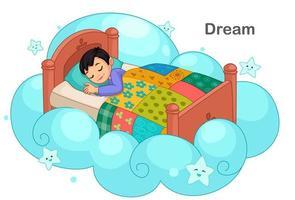 schattige kleine jongen dromen vector