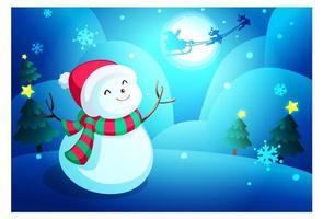 kerst sneeuwpop behang vector
