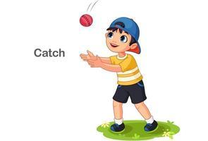 schattige jongen een bal vangen vector