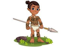 schattige tribale jongen vector