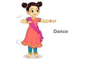 mooi schattig klein meisje dansen Indiase klassieke dans vector