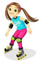 schattig klein meisje op rolschaatsen