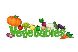 het woord groenten omgeven zijn groenten