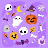 vlakke stijl schattig halloween elementen instellen