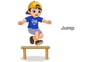 schattige jongen springen vector